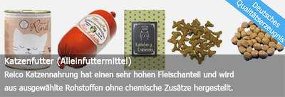 Dies ist ein Bild von Reico Katzenfutter Produkten - Dosenfutter und Trockenfutter